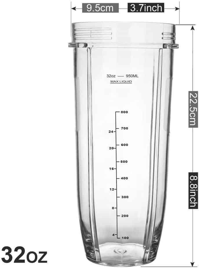 Nutri Ninja 900ml Extra Large Tall Cup fits 900w & 1000w Models.
